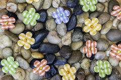 Free Springtime Background With Stones, Garden Rocks And Plaid Country Fabric Flowers Royalty Free Stock Photo - 85062885