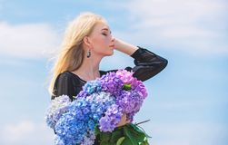 Springtime bloom. Female adore flowers. Spring attributes. Enjoy spring without allergy. Allergy free life. Stop allergy. Blooming season. Girl tender blonde stock images