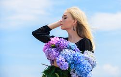 Springtime bloom. Female adore flowers. Spring attributes. Enjoy spring without allergy. Allergy free life. Stop allergy. Blooming season. Girl tender blonde stock photography