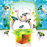 Springtime box. With butterflies and rainbow jets Stock Image