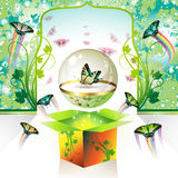 Springtime box. With butterfly in globe glass Royalty Free Stock Photography