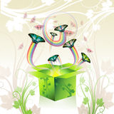 Springtime box. With butterflies and floral background Stock Photography