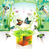 Springtime box. Love with butterflies Royalty Free Stock Images