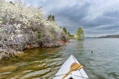 Springtime canoe paddling Stock Photography