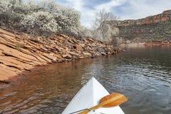 Springtime canoe paddling Stock Images