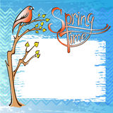 Springtime card with a bird. On a branch Royalty Free Stock Images