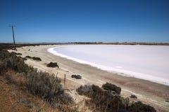 Panorama views of pink salt lake stock photos