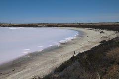 Panorama views of pink salt lake royalty free stock photography