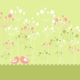 Springtime colorful birds green floral. Greeting card with copy space Royalty Free Stock Image