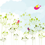 Springtime colorful birds green floral background Stock Photos