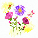 Springtime Colorful Flower and Butterfly. Background Stock Photos