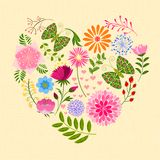 Springtime Colorful Flower and Butterfly in Heart Shape Royalty Free Stock Image