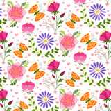 Springtime Colorful Flower and Butterfly Seamless Pattern. Background Royalty Free Stock Photo