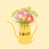Springtime Colorful Flower in Watering Can royalty free illustration