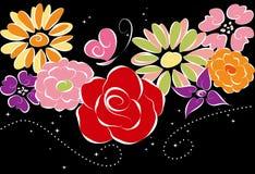 Springtime colorful flowers on black background Stock Photo