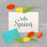 Springtime concept. Letter and flowers on kitchen table in flat style. Vector illustration. Top view Royalty Free Stock Photography
