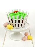 Springtime cupcake decorated with grass Stock Photo