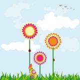 Springtime Easter holiday wallpaper. Colorful daisy easter egg and butterfly Stock Photos