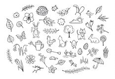 Springtime easter outlined hand drawn simpe childlike doodles. Set Stock Images