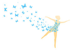 Springtime feelings. Silhouette of a woman in a dissolving dress of blue butterflies vector illustration