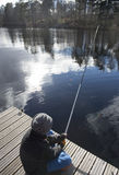 Springtime first fishing trip Stock Images