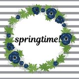 Springtime vector illustration. Floral round frame made of anemone flowers on striped background. Blue flowers