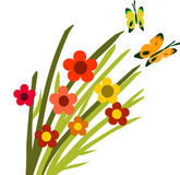 Springtime flower bloom and butterflies -2 Royalty Free Stock Images