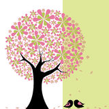 Springtime flower tree with lovebirds. Abstract springtime flower tree with lovebirds on green white background stock illustration