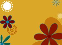 Springtime flowers. Illustrated flowers on golden background Royalty Free Illustration