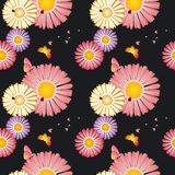 Springtime flowers butterflies seamless pattern. Springtime flowers butterflies ladybirds seamless pattern Royalty Free Stock Photo