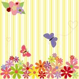 Springtime flowers & butterflies on yellow stripe. Background Stock Photos