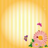 Springtime flowers & butterflies on yellow stripe Stock Images