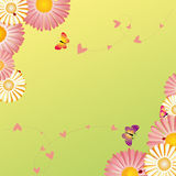 Springtime frame flowers butterflies ladybirds. On green yellow background Stock Image