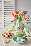 Springtime greeting card design with bunch of red tulips, espres Royalty Free Stock Photo