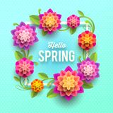Spring greeting card with flowers. Stock Photo