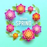 Spring greeting card with flowers. Springtime greeting card with flowers and frame. Vector illustration Stock Photo