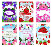 Springtime greeting cards spring flowers bouquets Stock Image