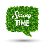 Springtime greeting in a speech bubble of green leaves Royalty Free Stock Images
