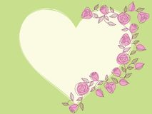 Springtime hand drawn heart with roses Stock Photo