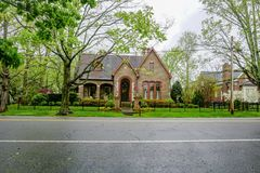 Springtime in Historic Tennessee. Walking along the historic streets of Franklin Tennessee,on a rainy afternoon, offers many beautiful sights.  Historic, one Stock Photography