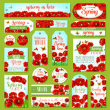 Springtime holiday greeting tag and gift label set. Springtime holidays greeting tag and gift label set. Spring flower field with green grass and butterfly Royalty Free Stock Image