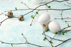 Springtime holiday seasonal background - eggs and fresh greenery branches on light white-blue background, copy space, simple. Concept royalty free stock photos