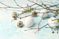 Springtime holiday seasonal background - eggs and fresh greenery branches on light white-blue background, copy space, simple. Concept stock images