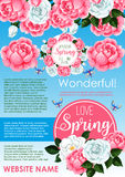 Springtime holidays floral greeting poster design Royalty Free Stock Images