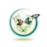 Springtime icon. Illustration with hearts and butterflies Royalty Free Stock Images