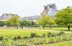Springtime in Jardin des Tuileries with Musee du Louvre beyond Stock Image