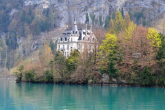 Springtime at Lake Brienz. Old castle near lake Brienz viewed from ship royalty free stock image