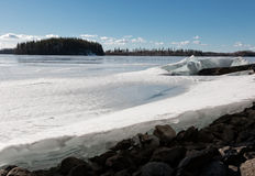 Springtime lake landscape with the edge of ice Stock Photography