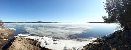 Springtime lake melting Stock Photos