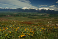 Springtime landscape of Mission Valley and Mission Mountains Royalty Free Stock Images